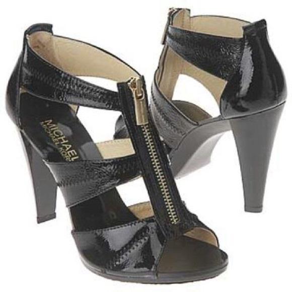 17625e5d8c MICHAEL Michael Kors Shoes | Michael Kors Black Zipper Heels Size 7 ...